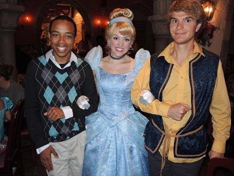 Cameron and Tommy meeting princesses at Akershus Norway Epcot Disney World