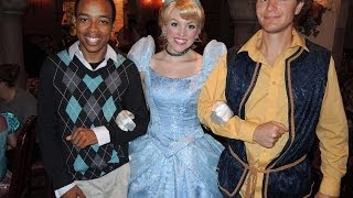 Cameron and Tommy meeting princesses at Akershus Norway Epcot Disney World