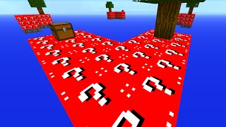 Minecraft 1v1v1v1 RED LUCKY BLOCK SKY BLOCK WARRIORS! (Minecraft Mods)