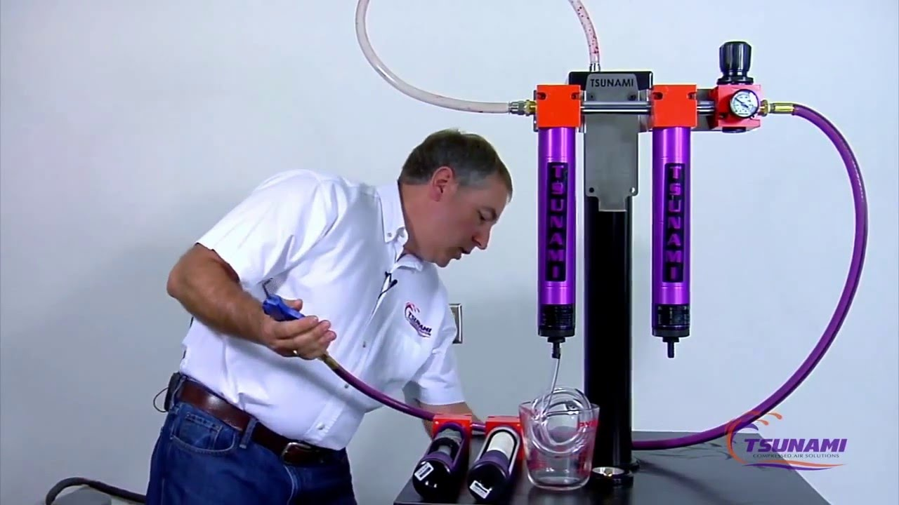 Filters.com - Tsunami Filtration Demonstration - Remove Water From a Compressed Air System