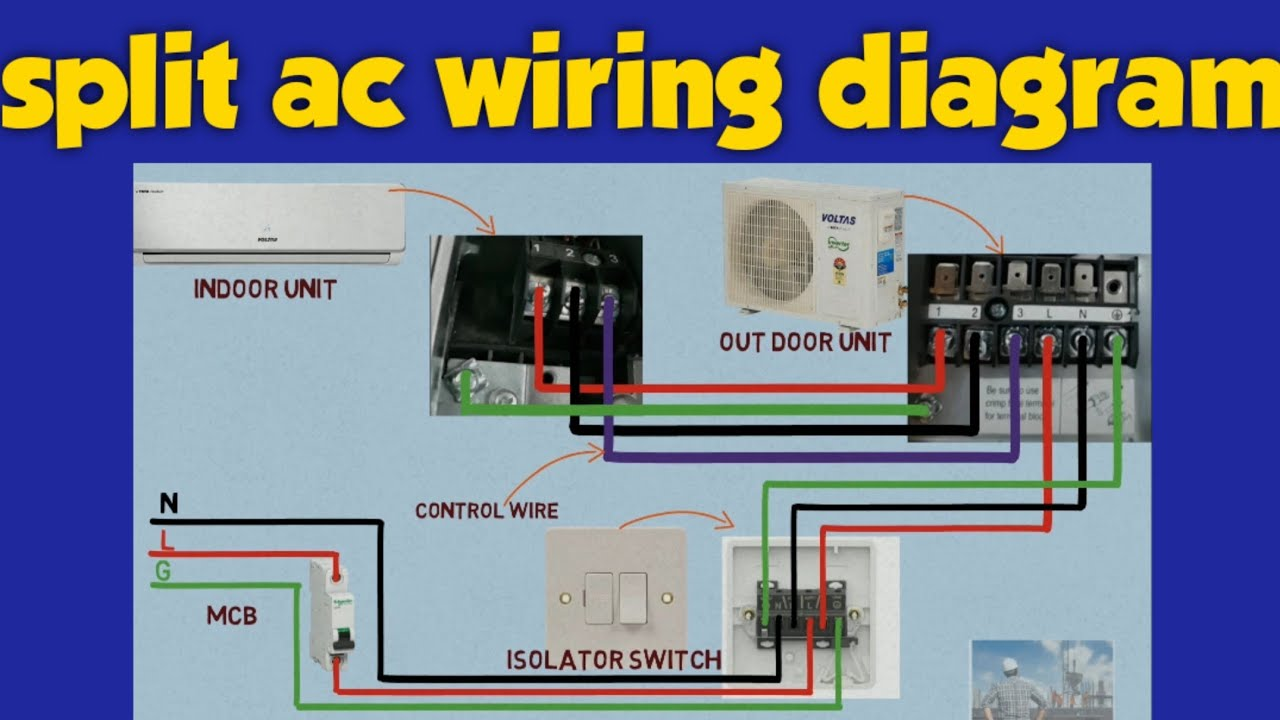 Split AC wiring diagram | ac wire connection to stabilizer | split ac  installation - YouTube | Hvac Split System Wiring |  | YouTube