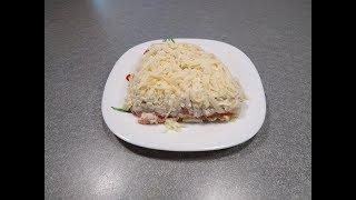 Рецепт Слоеный салат с семгой - необычный и очень вкусный салат без майонеза с соленой рыбкой