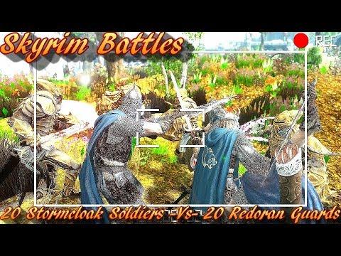 Skyrim Battles - 1/2 - 20 Stormcloak Soldiers vs 20 Redoran Guards [Legendary Settings]