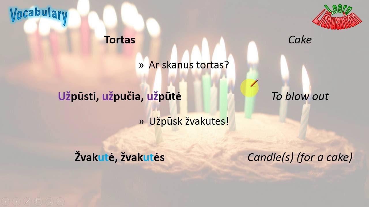 Lithuanian Vocabulary Birthday Youtube