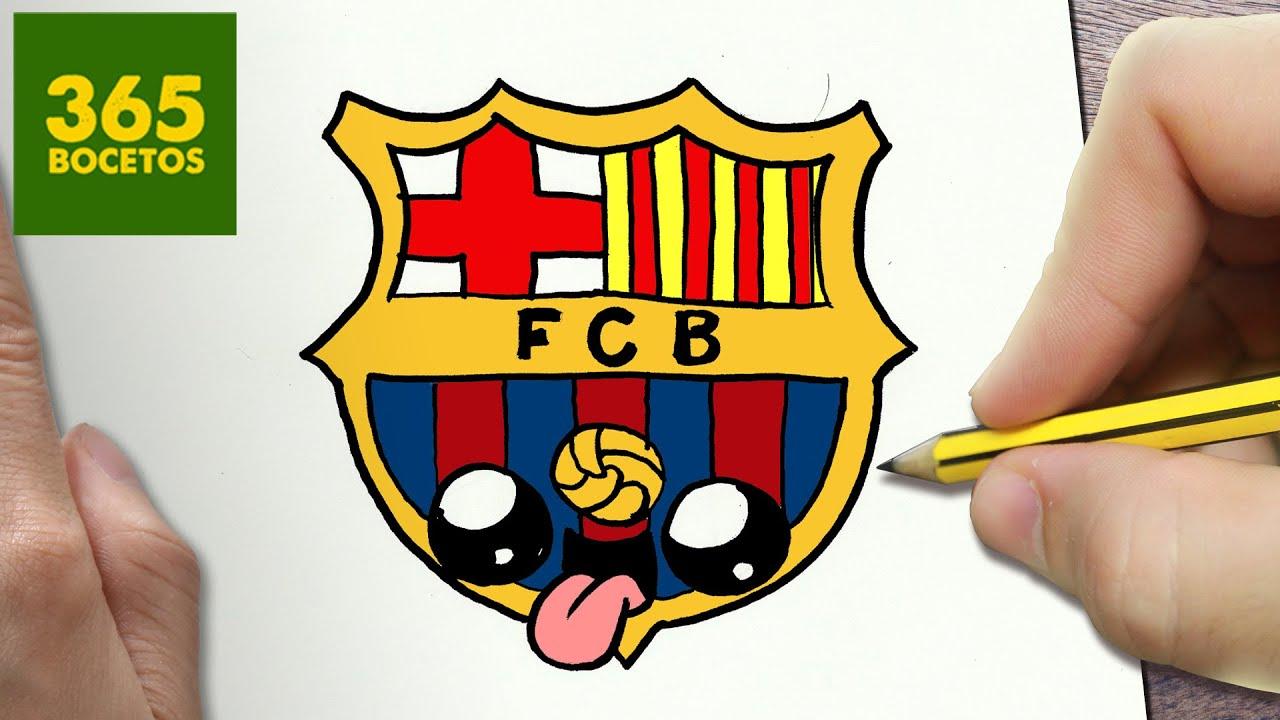 Como Dibujar Escudo De Barcelona Kawaii Paso A Paso Dibujos Kawaii