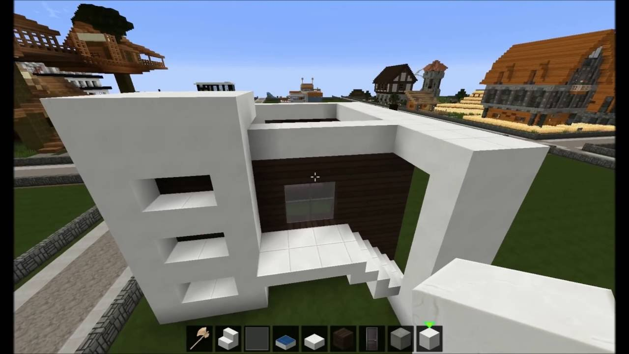 Minecraft modernes haus dunkel wei bauen tutorial for Minecraft modernes haus tutorial