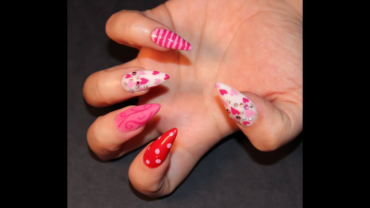 Easy Valentines Day Nails - YouTube