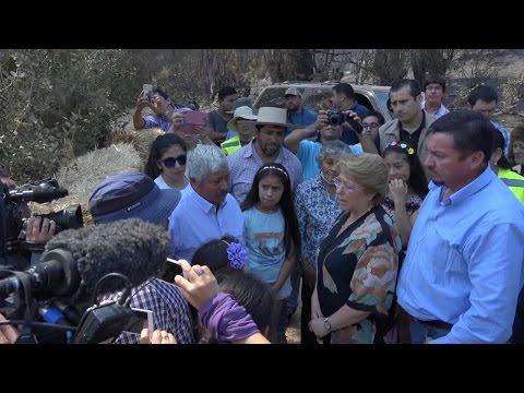 Presidenta Michelle Bachelet Visita Familias Afectadas por  Incendios en la Región de O'Higgins