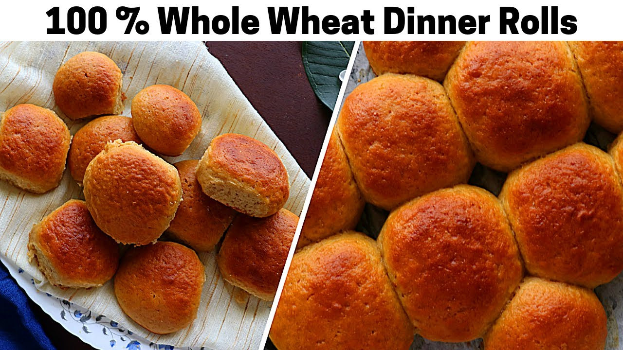 Whole Wheat Dinner Rolls | Soft Eggless Whole Wheat Bread Buns Recipe