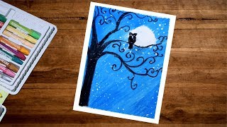 Moonlight Owl Scenery Drawing For Beginners With Oil Pastel - Step By Step