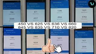 Antutu test Snapdragon 450 vs 625 vs 636 vs 660 vs 710 vs 820 vs 835 vs 845 benchmarks! 2018