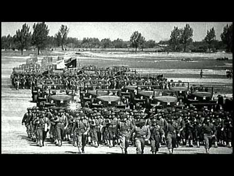 US Secretary of the Navy Frank Knox and General Hugh Drum review US 44th Infantry...HD Stock Footage