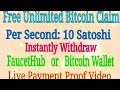 clainbts.com every second 10 Satoshi free claim instantly FaucetHub/Bitcoin Wallet live paymen proof