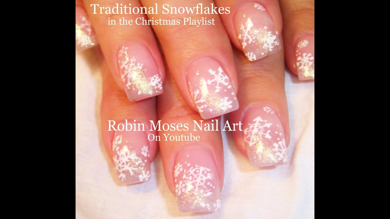 Easy Snowflake Nails Diy Pink And White Glitter Nail Art