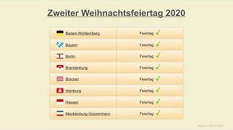 Zweiter Weihnachtsfeiertag 2020 - Datum - Feiertage Deutschland 2020