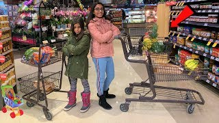 Kids Pretend Play Shopping for Healthy Food Challenge!!