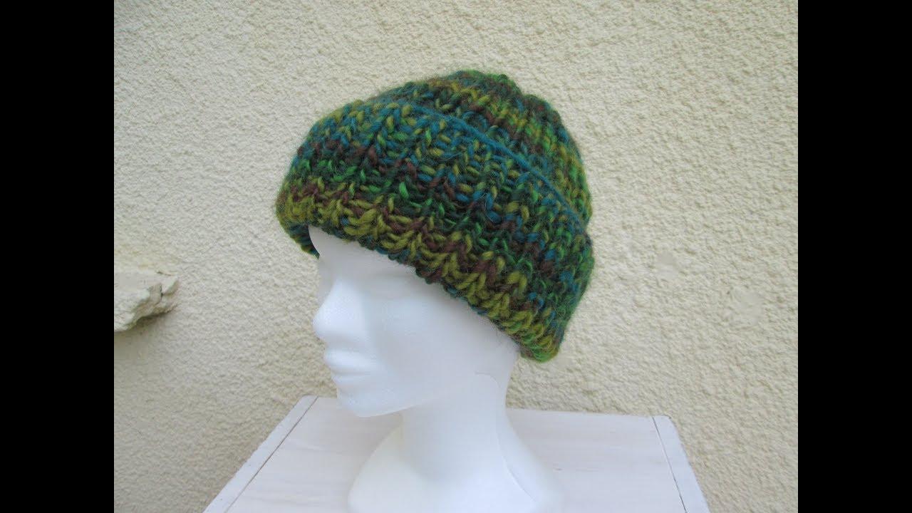 60bb15aafff2 Tricoter un bonnet côtes 1 1 aux aiguilles circulaires - YouTube