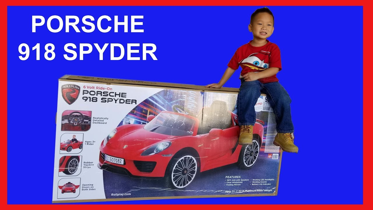 Toddler Car Dashboard Toddler Unboxing Porsche 918 Spyder 6v Electric Ride On Car By Rollplay