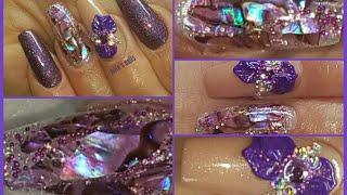 Purple shell sticker refill my nails using Yayoge polygel Blue sky gum gel