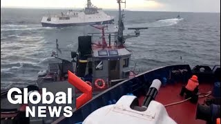 Video captures Russian coast guard ship colliding with Ukrainian boat in the Kerch Strait
