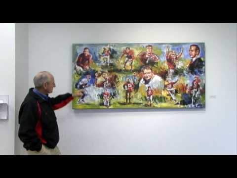 Coach Dooley describing UGA Hall of Fame players @ Steve Penley Art Exhibit @ Athens Academy