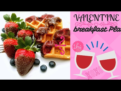 VALENTINE BREAKFAST PLATE (heart shape waffles and strawberry dip in dark chocolate)