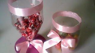 Baleiro de garrafa pet decoração de festa fácil e prático