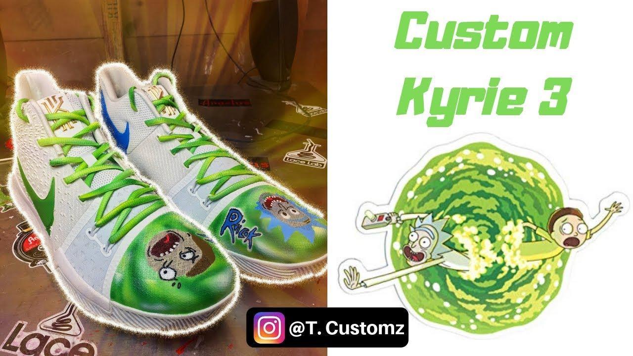 Rick and Morty Custom Kyrie 3's!! - YouTube