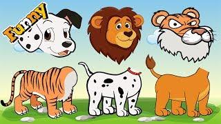 Falsche Köpfe Mit Comic-Und Tier – Tiger -, Hunde -, Löwen – Lustige Cartoons Für Kinder