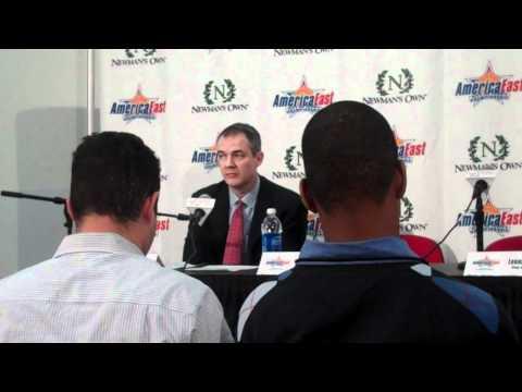 Postgame: Coach Pikiell, Chris Martin, Leonard Hayes (3/12 56-54 BU W)