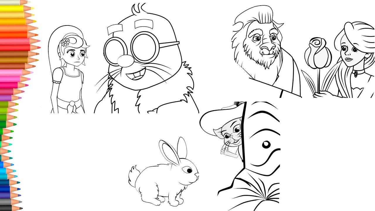 Dibujar y Colorea | Dibujos Para Niños | El Gato con botas - La Bella y la Bestia - Pulgarcita