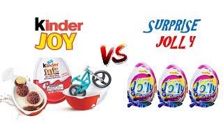 Kinder JOY vs Surprise Jolly surprise eggs!!