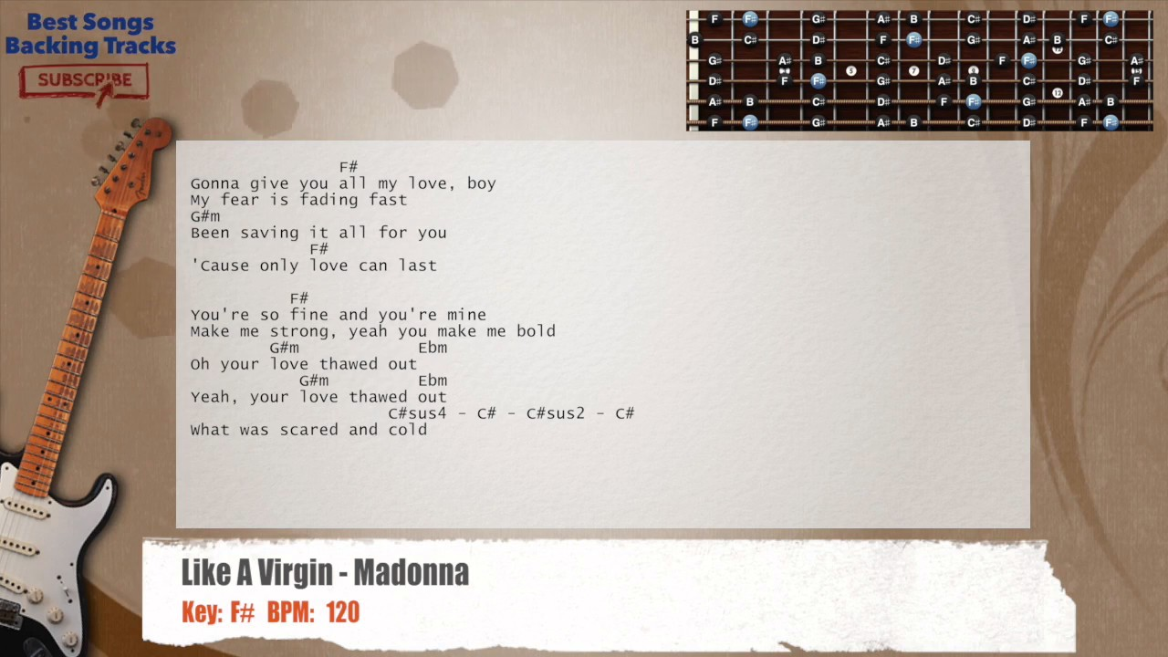 Like A Virgin Madonna Guitar Backing Track With Chords And Lyrics