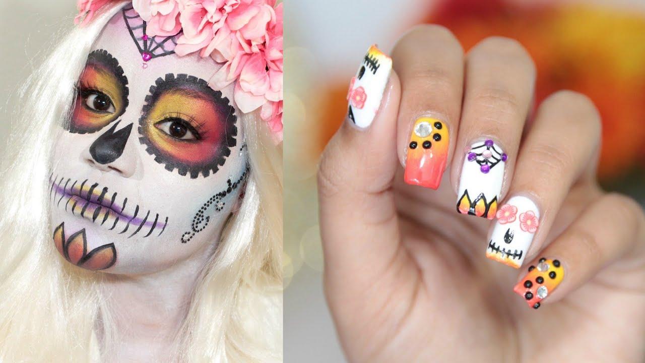 Sugar Skull Nail Art Tutorial Nailsbyana Youtube