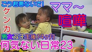 二卵性男女双子赤ちゃん生後14ヶ月 最近一緒に遊びたいのか益々くっつく...