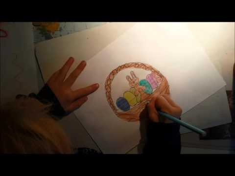 Schönes Bild zu Ostern malen. Osterbild, Osterhase, Eier. / Crayon painting for Easter