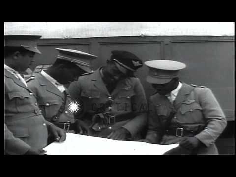 Second Italian-Ethiopian War. Ethiopian Air Force flyers, including John C. Robin...HD Stock Footage