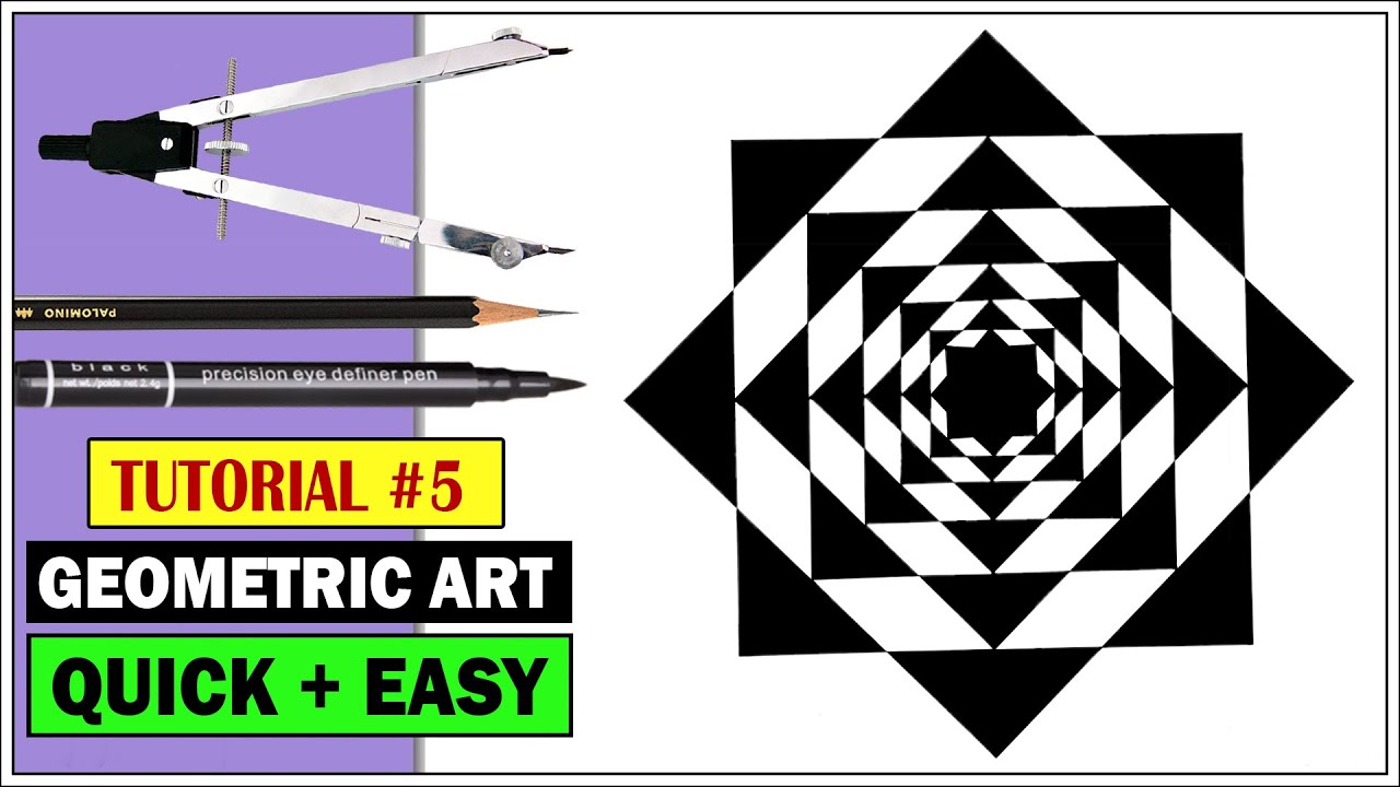 How to Draw ✎ Geometric Mandala Art | Optical Illusion | Simple Drawing Tutorial Step by Step #5