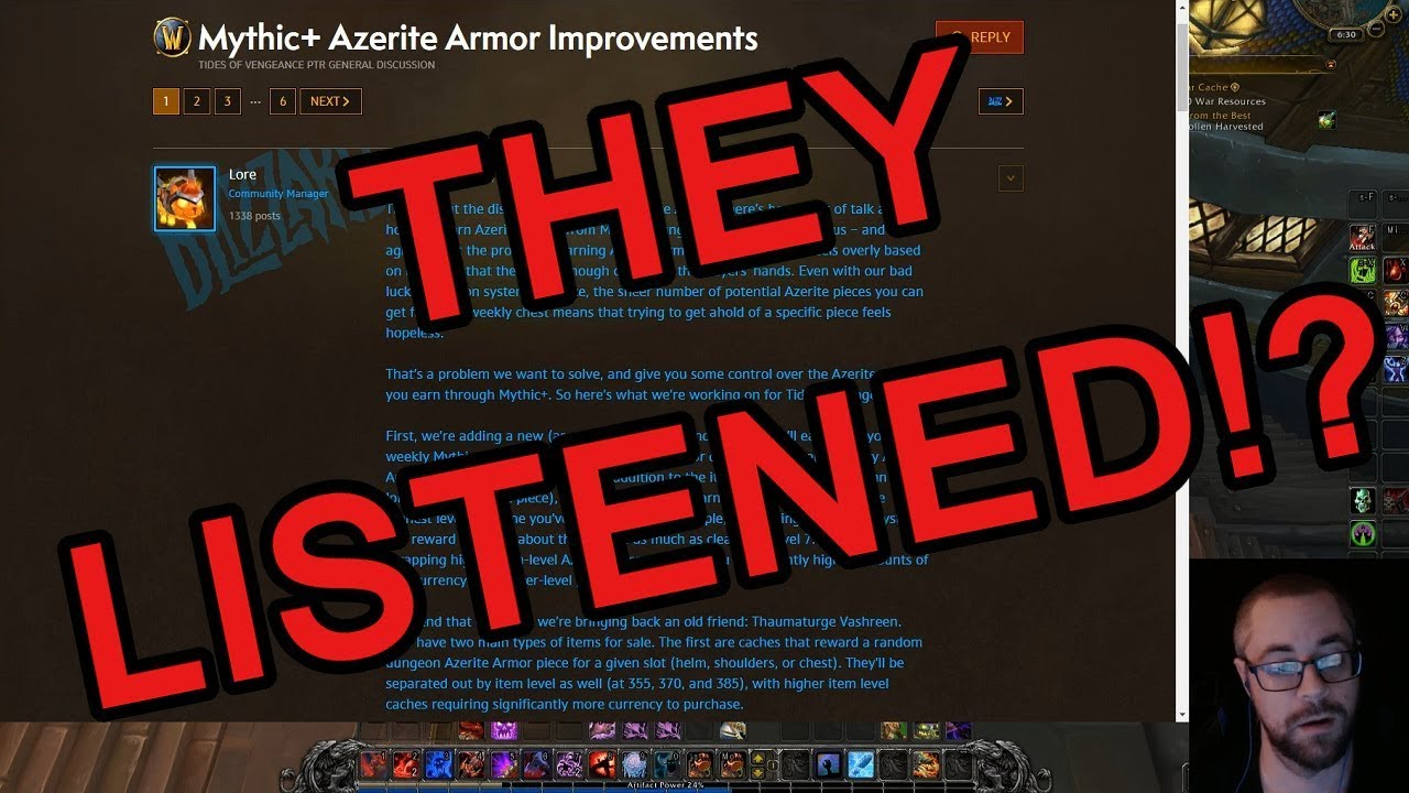 Insane Mythic + Azerite Armor Changes in 8 1 Tides of Vengeance