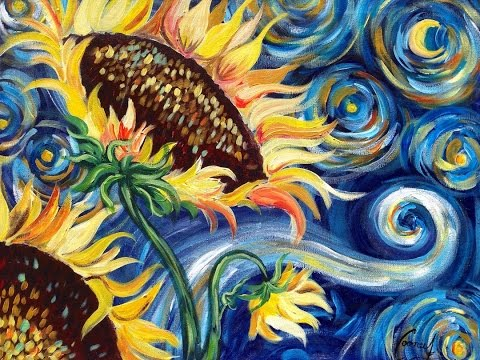 Sunflowers Tutorial | Vincent Van Gogh Starry Night | Beginner Acrylic Painting