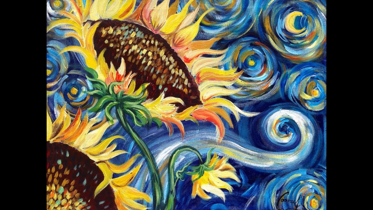 Sunflowers Tutorial Vincent Van Gogh Starry Night Beginner Acrylic Painting