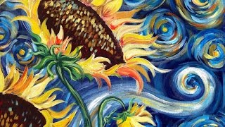 How to paint Vincent Van Gogh Starry Night Sunflowers beginner online painting lesson painting party