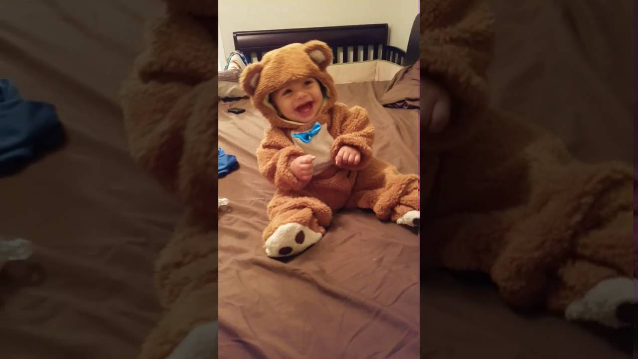 ce95ad597 Cute baby laughing in bear costume - YouTube