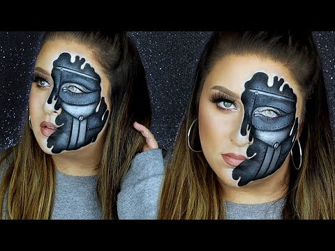 Half Human Half Robot Makeup Tutorial | 31 Days of ...