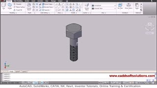 Autocad 3d Bolt With Threads Tutorial | Download 3d Bolt Dwg Drawing