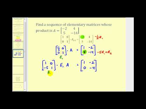 Write a Matrix as a Product of Elementary Matrices