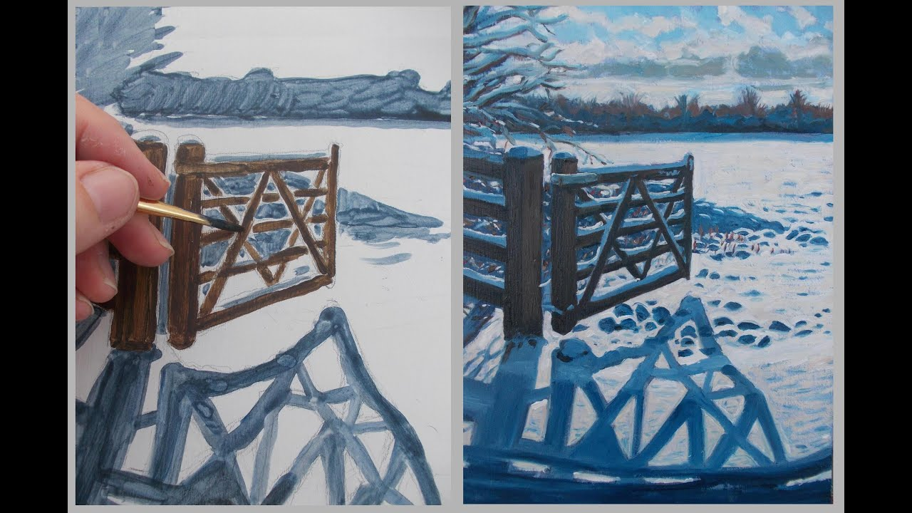 learn acrylic underpainting a snow painting in oils youtube