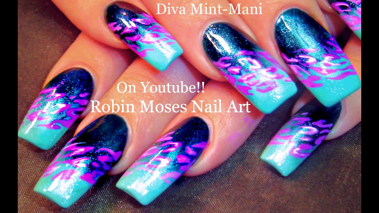 Hot Animal Print Nails Dark Blue Leopard Nail Art On Teal Gradient