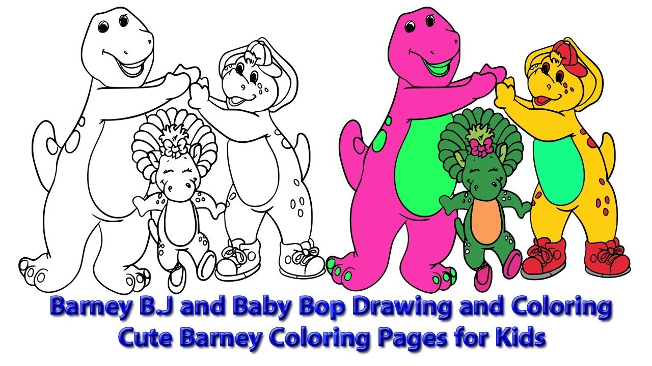 The Barney Bj And Baby Bop Drawing And Coloring Cute Barney Coloring Pages For Kids Youtube