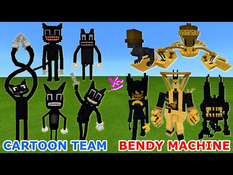 CARTOON CAT TEAM vs. BENDY AND THE INK MACHINE in Minecraft | Epic TeamUp Battle